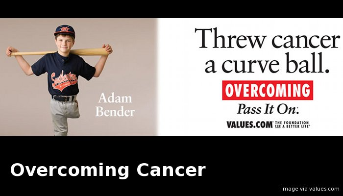 "Billboard image that reads, ""Threw cancer a curve ball. Overcoming. Pass it On."" Image of a boy in a baseball uniform with one leg."