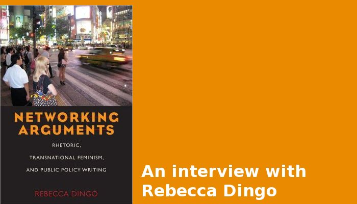 An image of Dingo's book cover: Networking Arguments. A night image of people standing on the sidewalk at Times Square.