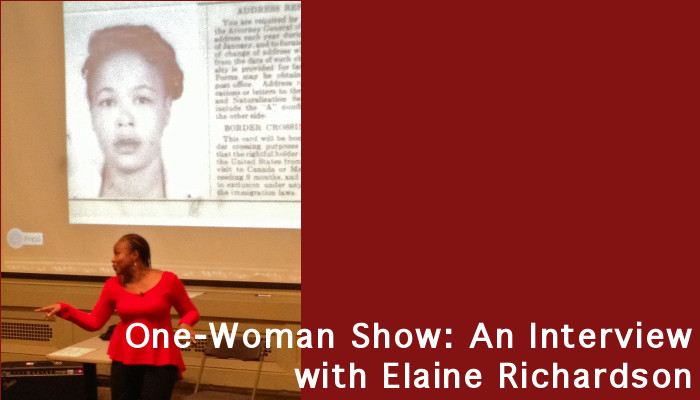Image shows Elaine Richardson dancing--arm outstretched and head turned to the side. Her mouth is open as she sings. Behind her is a projected image of her mother with an accompanying news article.