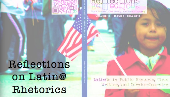 "Fall 2013 cover of Reflections, ""Latin@s in Public Rhetoric, Civic Writing, and Service Learning"""