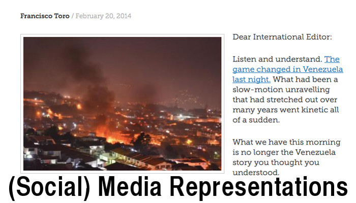 "Image of ""The Game Changed in Venezuela Last Night"" blog post--shows image of San Cristobal on fire and the first two paragraphs of the post."