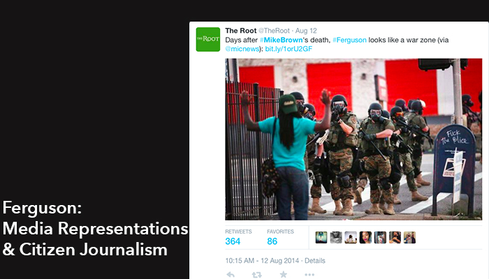 The image shows a screenshot of The Root's tweet featuring an image that went viral during Ferguson protests. The image features a black man with his back to the camera, hands in the air. Facing us are approximately 10 police officers in full riot gear, at least 4 of whom are actively pointing guns at the unarmed citizen.