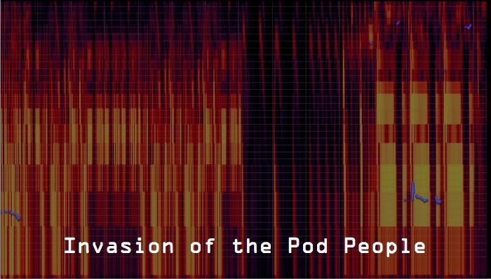 "Fragmented sound waves appear as red, yellow, black, and purple shapes layered and gridded onto each other. The text reads, ""Invasion of the Pod People."""