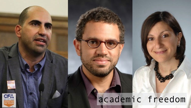 "The image shows a mash-up of the three scholar-activists featured in this episode: Steven Salaita, Vincent Lloyd, and Carol Fadda-Conrey. The text reads, ""academic freedom."""